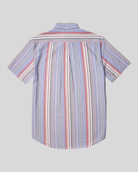 striped blue red white short sleeve shirt product back