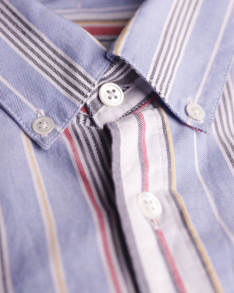 striped blue red white short sleeve shirt detail button
