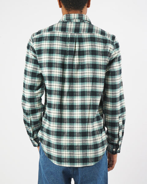 flannel shirt green white model back