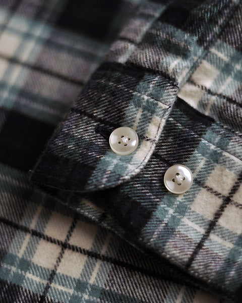 flannel shirt green white detail buttons
