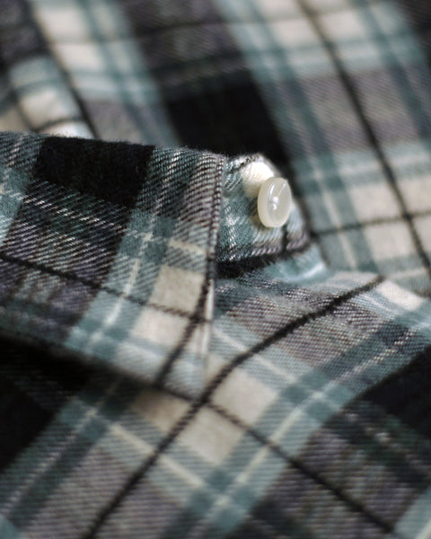 flannel shirt green white detail button