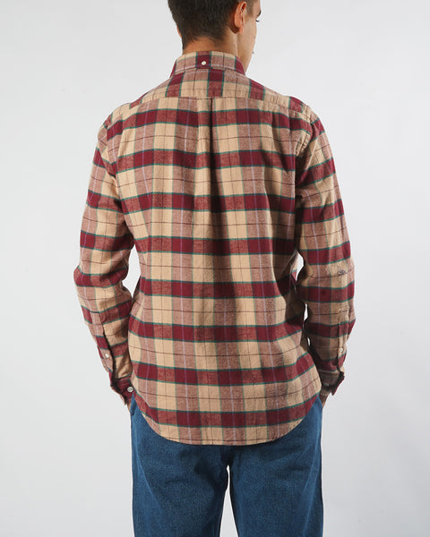 flannel shirt plaid red pink model back