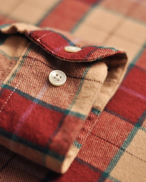 flannel shirt plaid red pink detail button