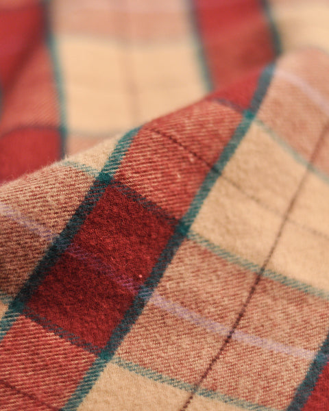 flannel shirt plaid red pink detail fabric