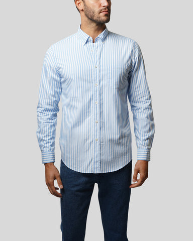 sky blue white striped long sleeve shirt model front