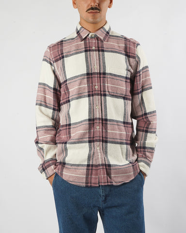 flannel shirt plaid white old rose model front