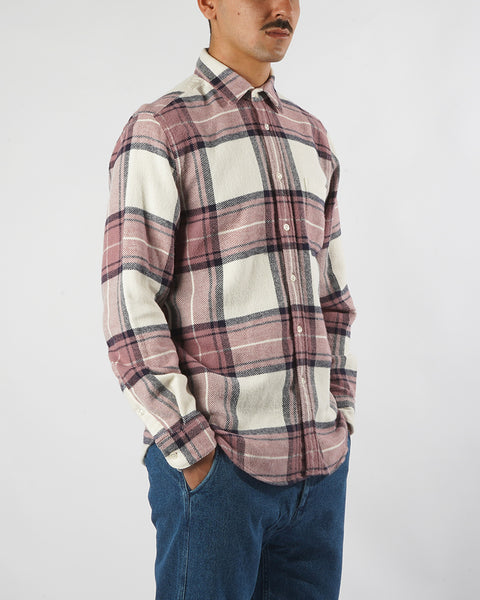 flannel shirt plaid white old rose model side