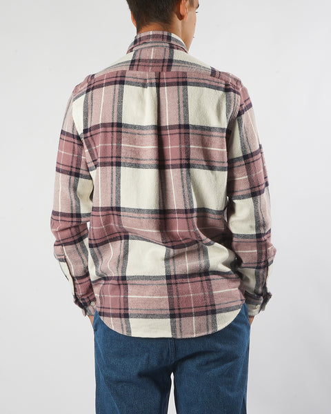 flannel shirt plaid white old rose model back