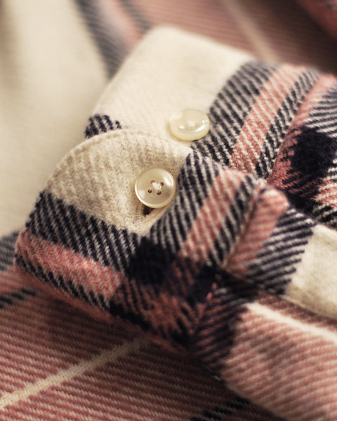flannel shirt plaid white old rose detail buttons
