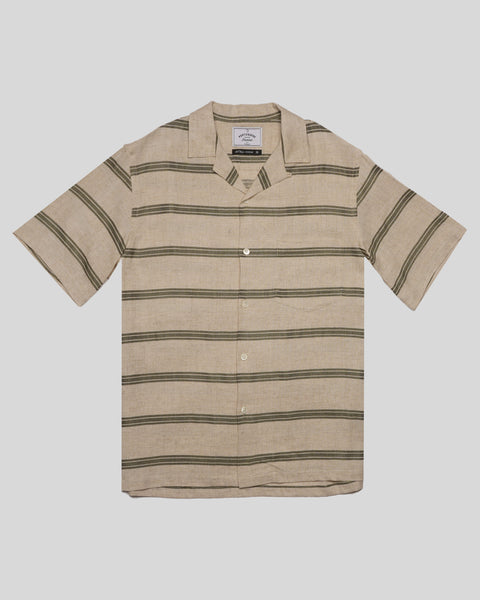 striped olive short sleeve shirt product  front