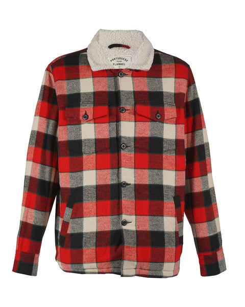 sherpa jacket flanel gingham red black white product front