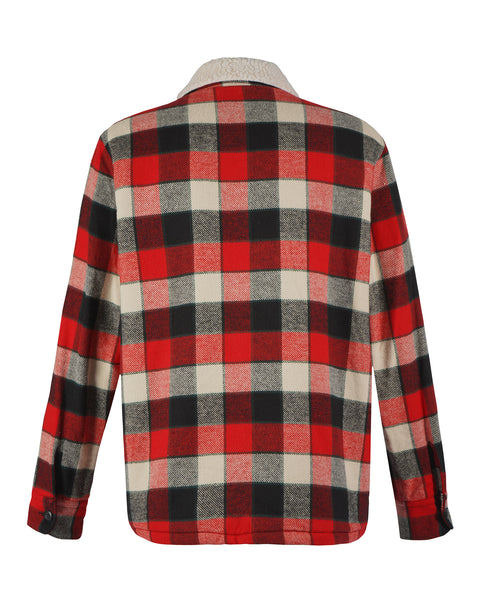 sherpa jacket flanel gingham red black white product back