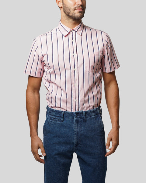 striped pink white short sleeve shirt model front