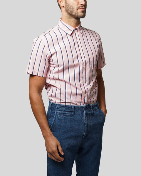 striped pink white short sleeve shirt model side