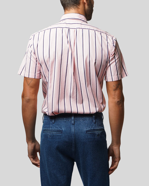striped pink white short sleeve shirt model back