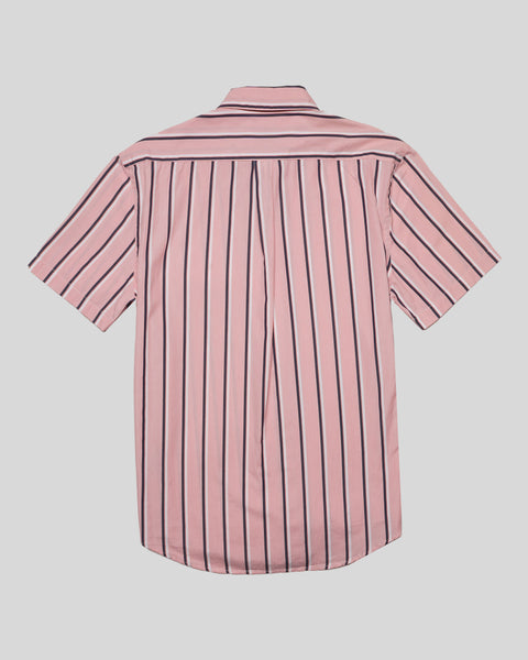striped pink white short sleeve shirt product back