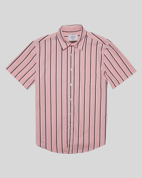 striped pink white short sleeve shirt product front