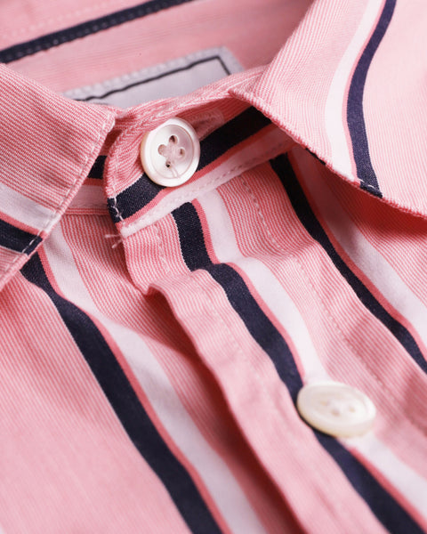 striped pink white short sleeve shirt detail button
