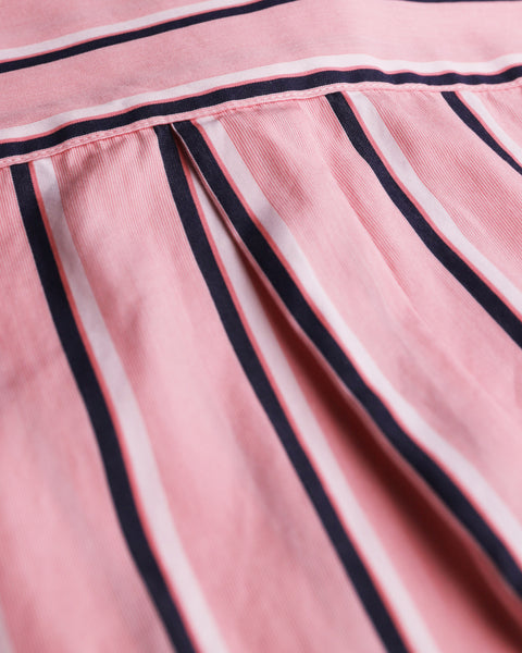 striped pink white short sleeve shirt detail fabric