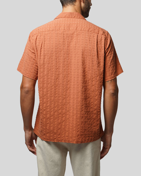 terracota textured short sleeve shirt model back