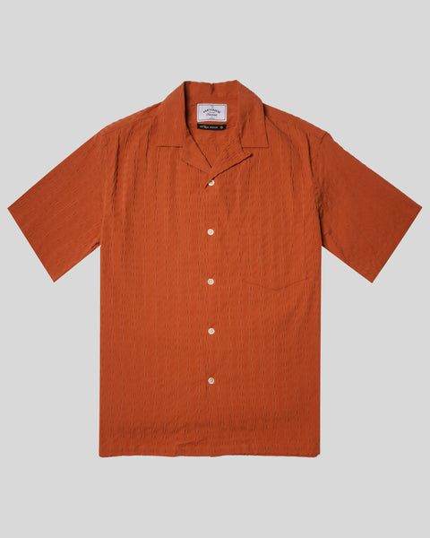 terracota textured short sleeve shirt product  front