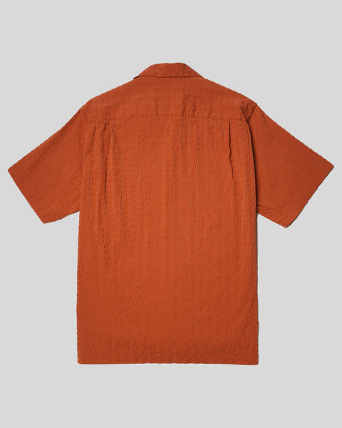 terracota textured short sleeve shirt product back
