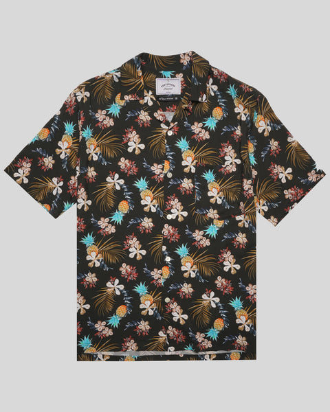 tropical black printed short sleeve shirt product front