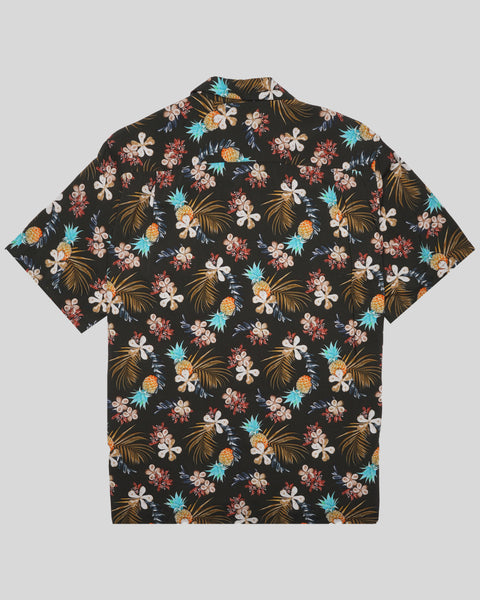tropical black printed short sleeve shirt product back