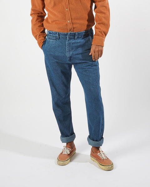 denim trousers model front