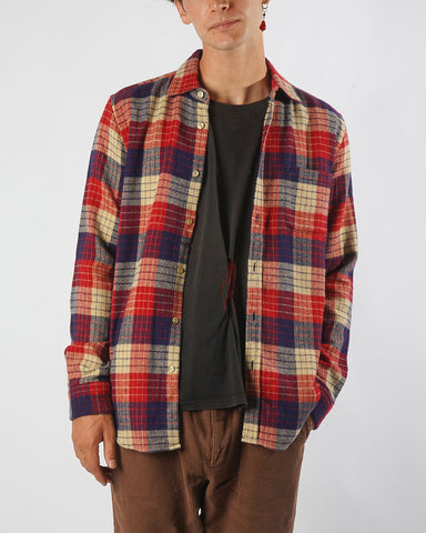 flannel shirt plaid red blue beige model front