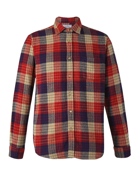 flannel shirt plaid red blue beige product front