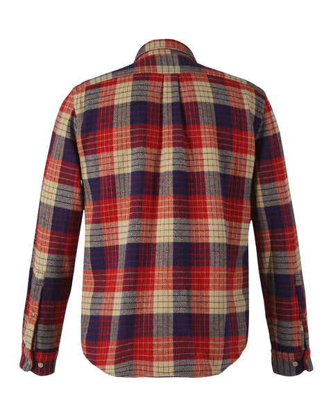 flannel shirt plaid red blue beige product back