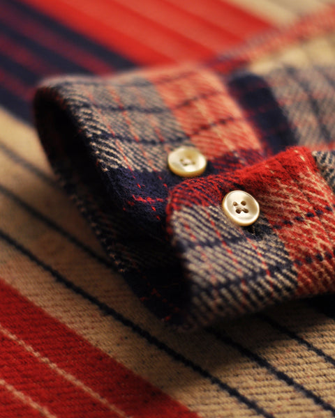 flannel shirt plaid red blue beige detail buttons