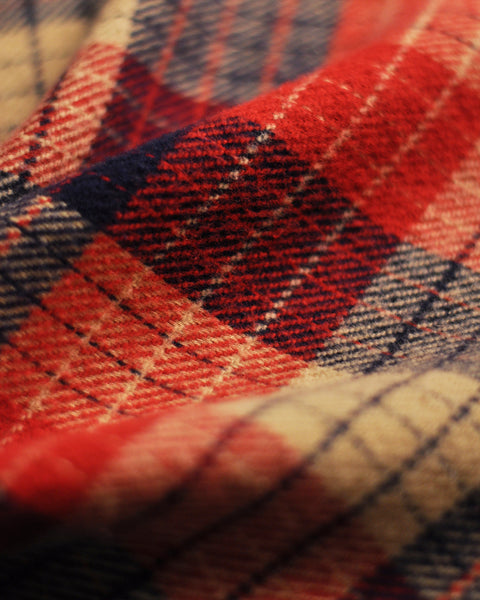 flannel shirt plaid red blue beige detail fabric