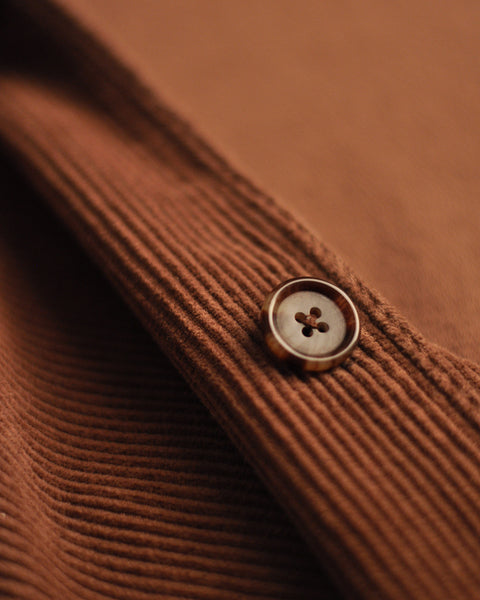 corduroy jacket brown detail button