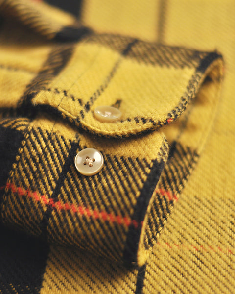 lannel shirt plaid yellow black detail buttons
