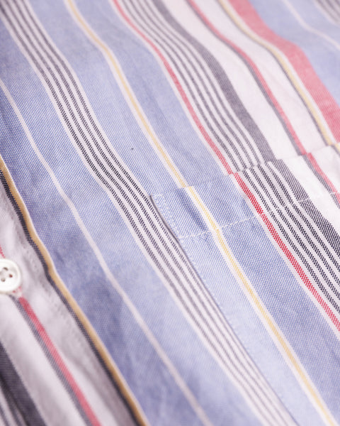 striped blue red white short sleeve shirt detail pocket