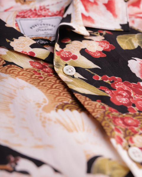 flower printed short sleeve shirt detail button