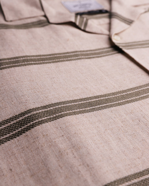 striped olive short sleeve shirt detail  fabric