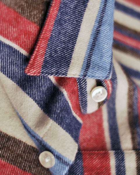 flannel shirt striped pink blue detail button