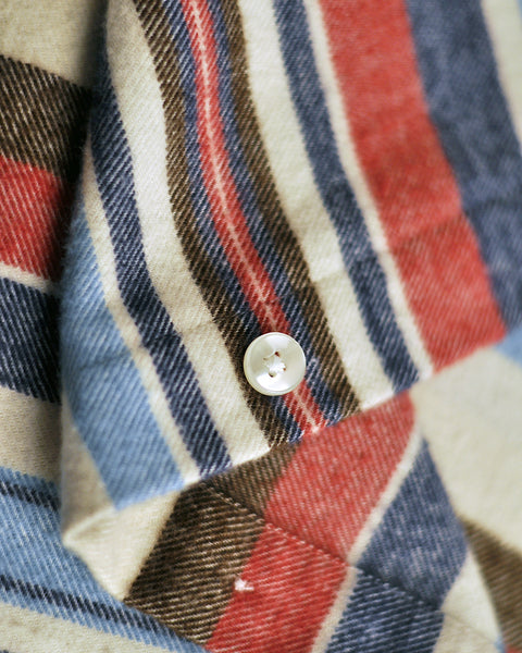 flannel shirt striped pink blue detail button fabric