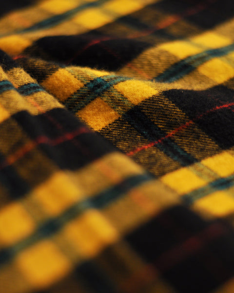 flannel shirt, black and yellow, detail fabric