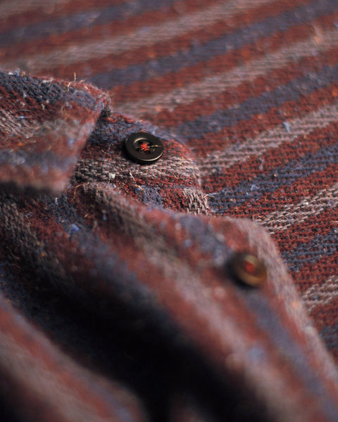 striped long sleeve shirt blue bordeaux detail button