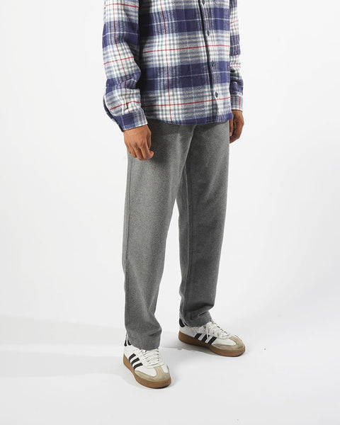flannel trousers grey model front