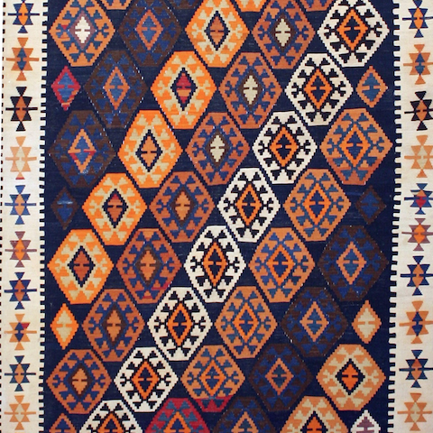 Antique Caucasian Baku Kilim
