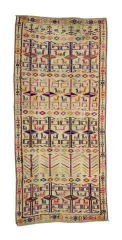 Unusual Caucasian Kilim Jijim with birds