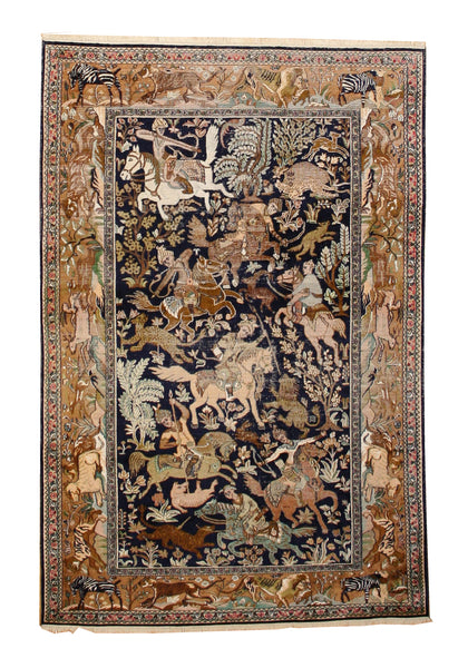 Unique Vintage Hunting Scene Rug