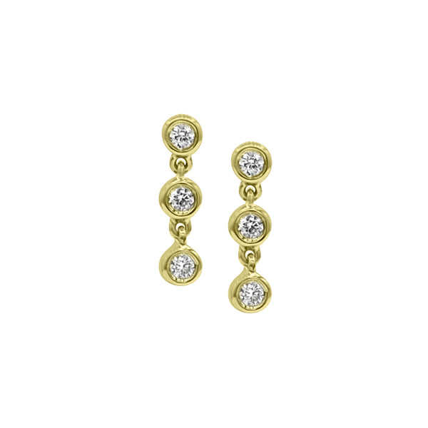 3 Diamond Drop studs - Designer Earrings - The Ear Stylist by Jo Nayor