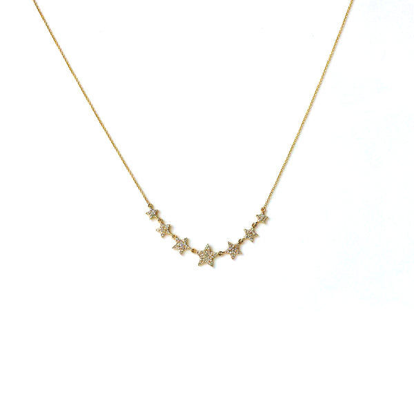 Pave Diamond Star Cluster Necklace - Jo Nayor