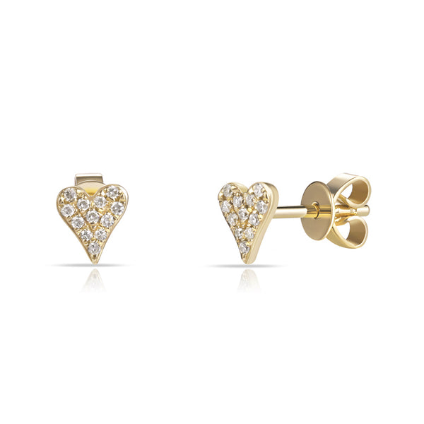 Mini Diamond Pave Heart - Designer Earrings - The EarStylist by Jo Nayor